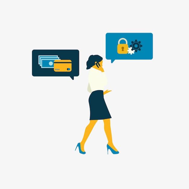 Femme d'affaires illustrée avec sécurité bancaire en ligne Vecteur gratuit