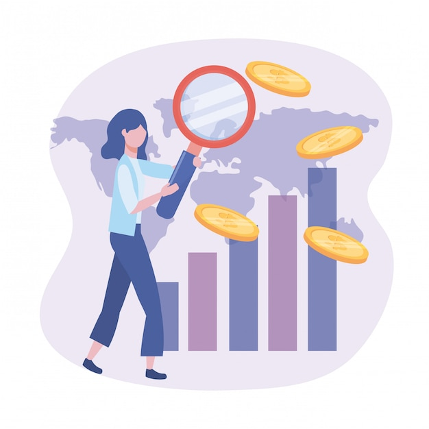 Femme d'affaires avec loupe et barre de statistiques Vecteur gratuit