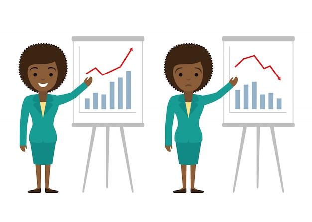 Femme d'affaires montrant des graphiques. succès financier, illustration plat de perte financière. Vecteur Premium