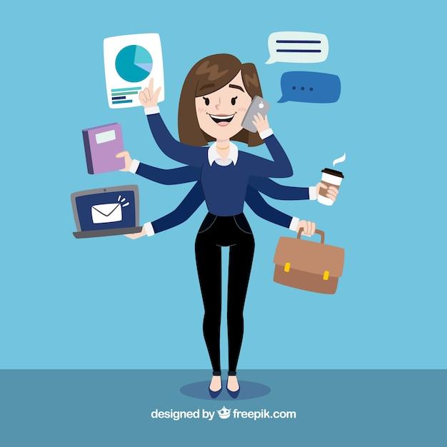 Femme D'affaires Multitâche Vecteur gratuit