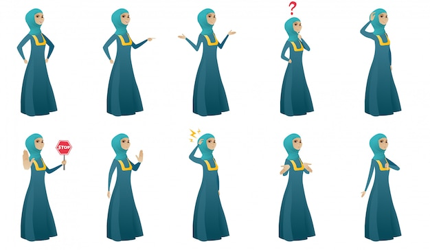 Femme d'affaires musulmanes Vecteur Premium