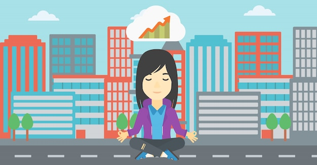 Femme d'affaires pacifique faisant du yoga. Vecteur Premium