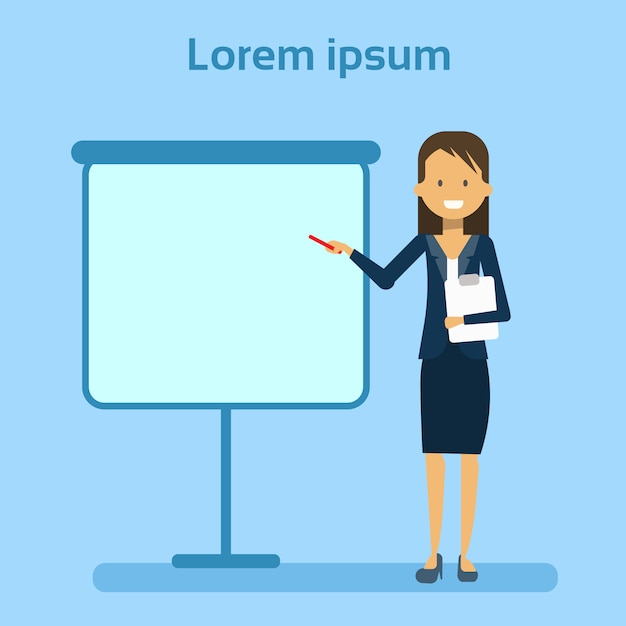 Femme affaires, pointage, vide, tableau blanc Vecteur Premium