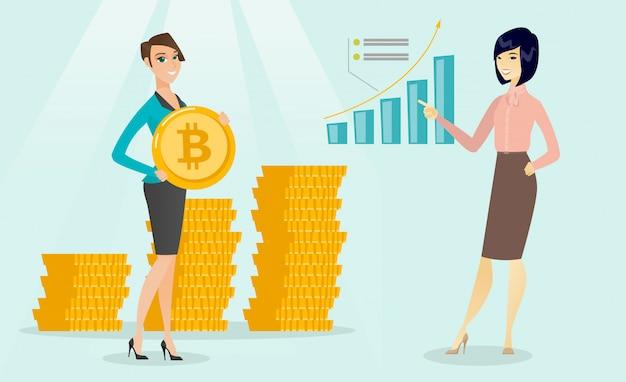 Femme d'affaires pointant sur le graphique de croissance bitcoin. Vecteur Premium