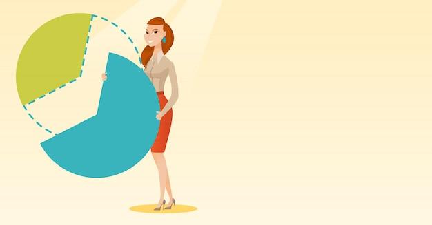 Femme d'affaires prenant sa part des bénéfices. Vecteur Premium