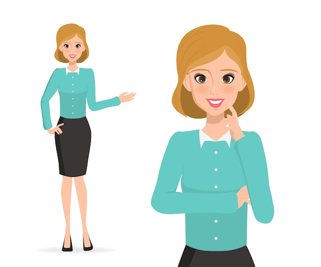 Femme d'affaires présentant le caractère. les gens d'affaires dans l'emploi. Vecteur Premium