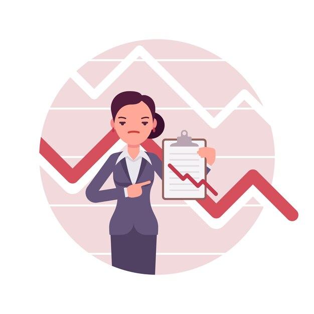 Femme affaires, presse-papiers tableaux et graphiques négatifs Vecteur Premium