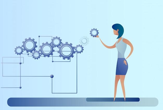 Femme d'affaires avec processus de remue-méninges de femme d'affaires Vecteur Premium