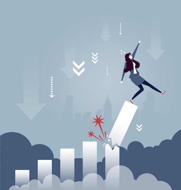 Femme d'affaires tomber du diagramme de taux de croissance cassé - concept d'affaires Vecteur Premium