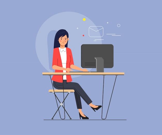 Femme d'affaires travaillant à l'aide d'un ordinateur portable pour l'envoi d'emails. Vecteur Premium