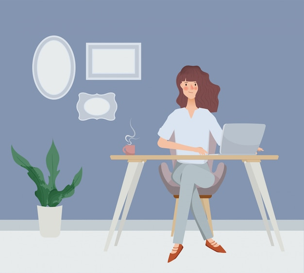 Femme d'affaires travaillant au bureau caractère dessiné à la main. conception de la salle de travail intérieure. Vecteur Premium