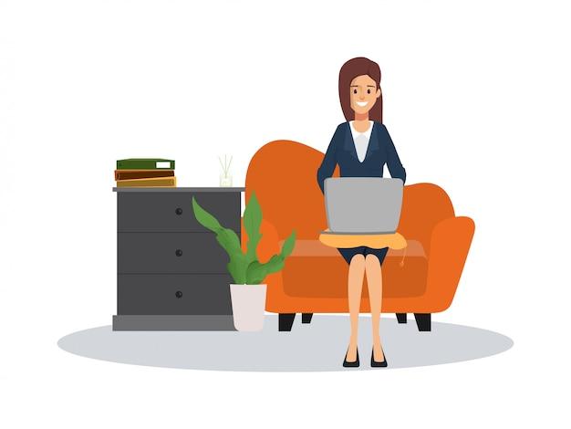 Femme D'affaires Travaillant Sur Le Canapé Avec Un Ordinateur Portable. Personnages Au Travail. Vecteur Premium