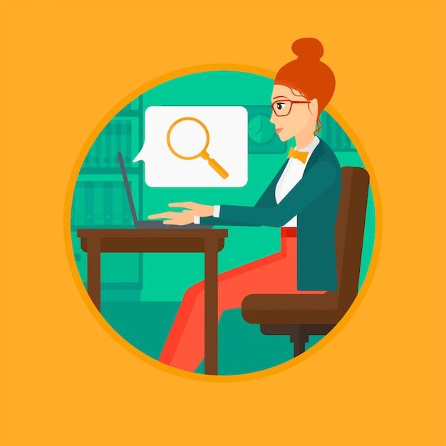 Femme d'affaires travaillant sur son ordinateur portable. Vecteur Premium