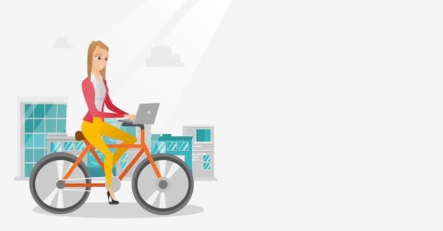 Femme d'affaires à vélo avec un ordinateur portable. Vecteur Premium