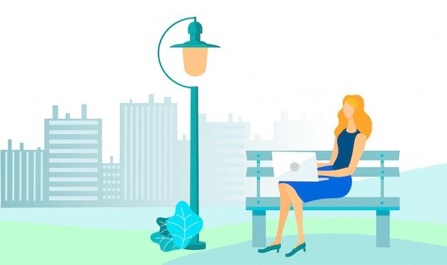 Femme affaires, ville, parc, illustration Vecteur Premium
