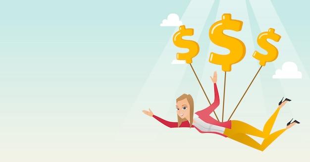 Femme d'affaires volant avec des signes dollar. Vecteur Premium