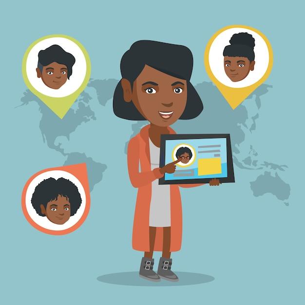 Femme africaine, tenue, tablette, à, réseau social Vecteur Premium