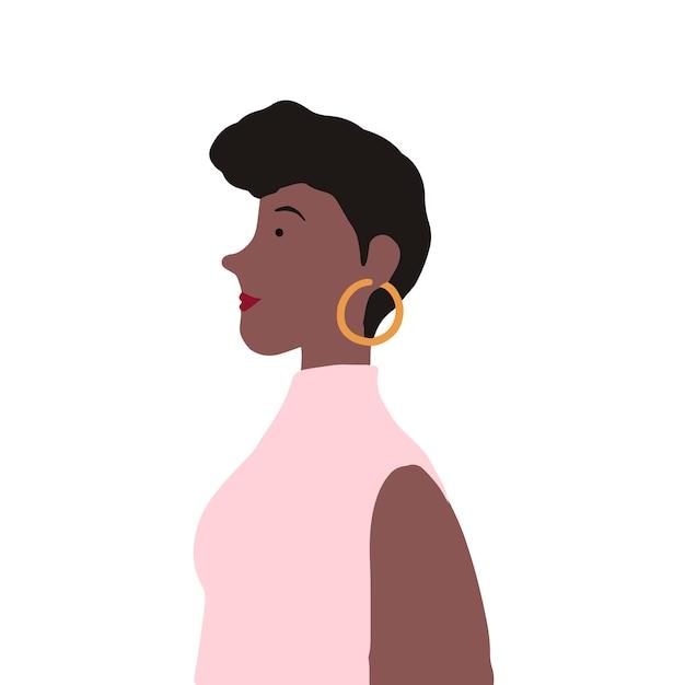 Femme afro-américaine forte dans le vecteur de profil Vecteur gratuit