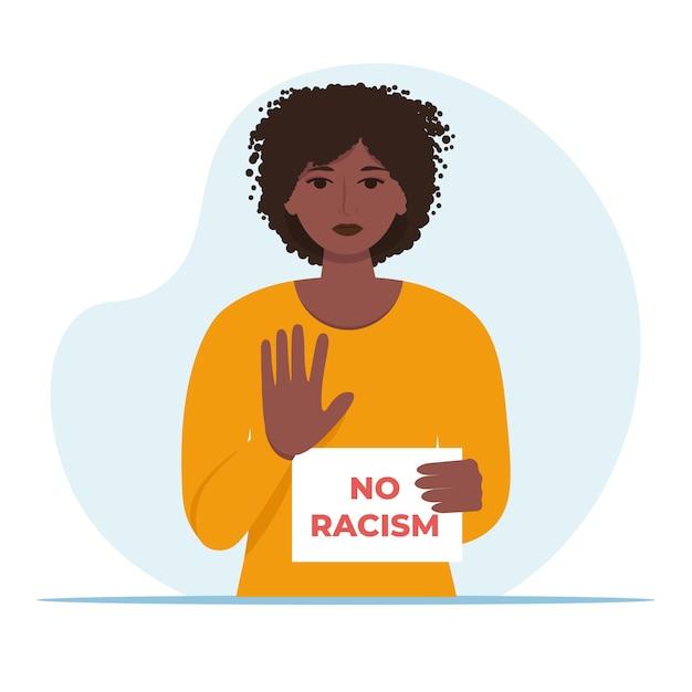 Femme Afro-américaine Ne Tenant Aucun Signe De Racisme. Vecteur Premium