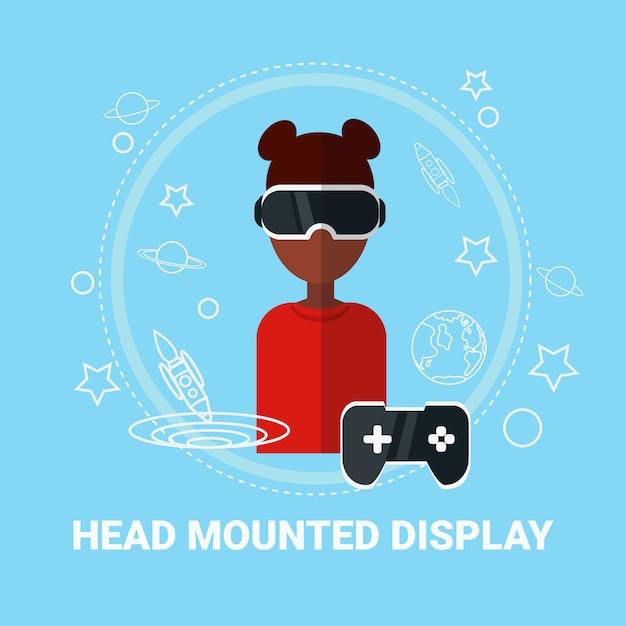 Femme Afro-américaine Portant Un Casque De Réalité Virtuelle, Concept De Technologie De Jeu Moderne Vecteur Premium