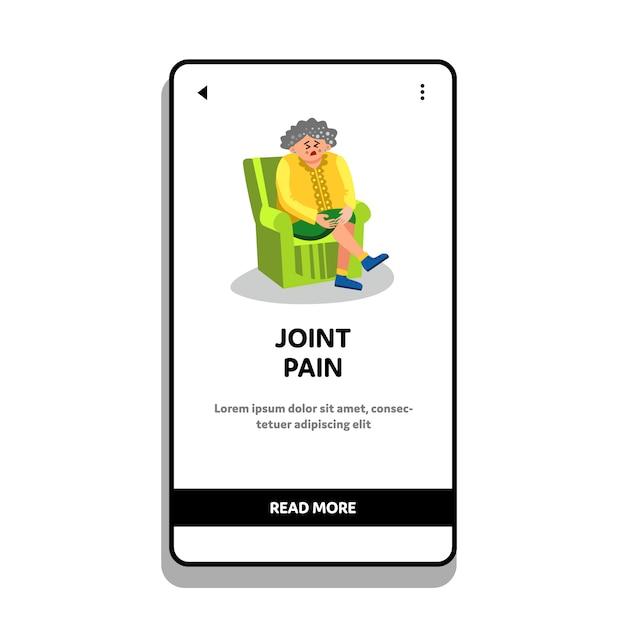 Femme âgée, à, Douleur Articulaire, S'asseoir Chaise Vecteur Premium