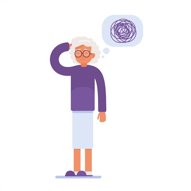 Femme âgée triste a des problèmes de mémoire Vecteur Premium