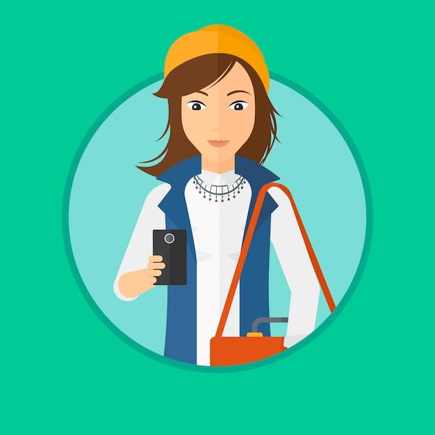 Femme à l'aide de smartphone. Vecteur Premium