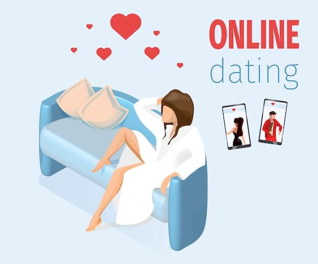 Femme amoureuse assise sur un canapé vector illustration Vecteur Premium