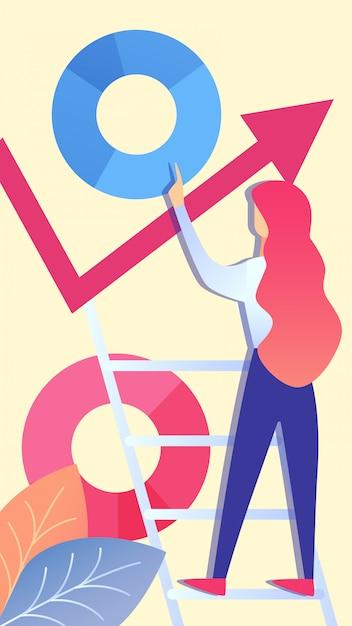 Femme analysant des données d'entreprise vector illustration Vecteur Premium