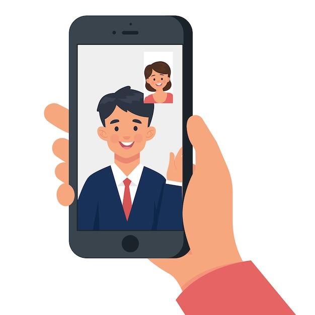 Femme a un appel vidéo avec un homme Vecteur Premium