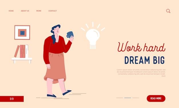Femme Appréciant Une Tasse De Thé En Pensant à La Page De Destination Du Site Web Idée Créative Vecteur Premium