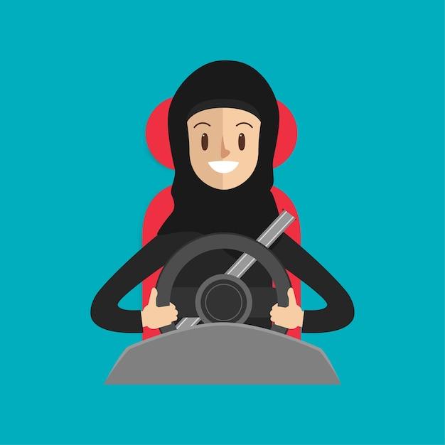Femme arabe avec une ceinture de sécurité conduisant une voiture sur le chemin. Vecteur Premium