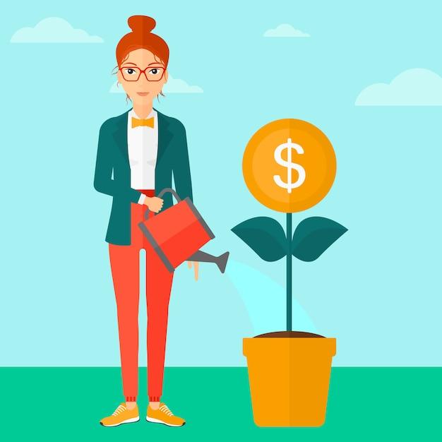 Femme arrosant une fleur d'argent. Vecteur Premium