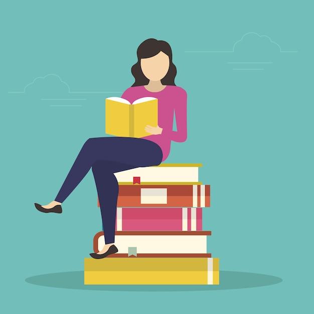 Femme assise dans de nombreux livres et lecture d'un livre intéressant Vecteur Premium