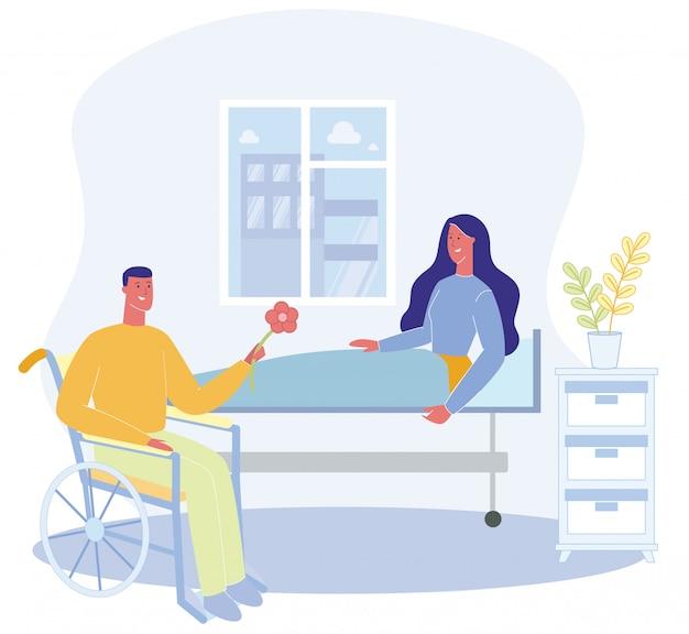 Femme Assise Sur Un Lit, Hôpital, Salle, Homme, Dans, Wheelchai Vecteur Premium