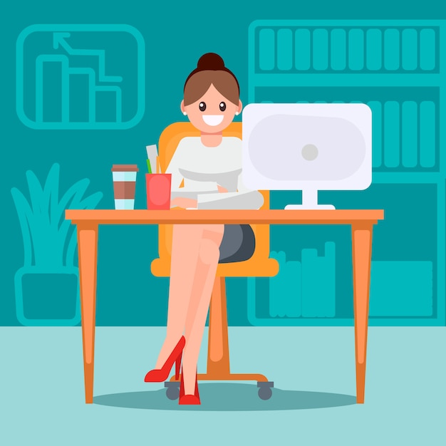 Femme au bureau à la table Vecteur gratuit