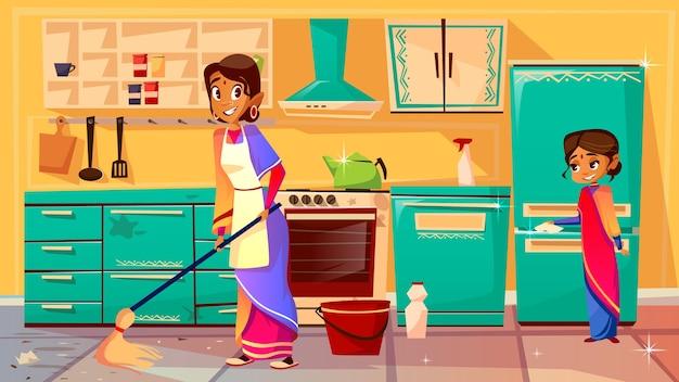 Femme au foyer nettoyage illustration de la mère indienne en sari Vecteur gratuit