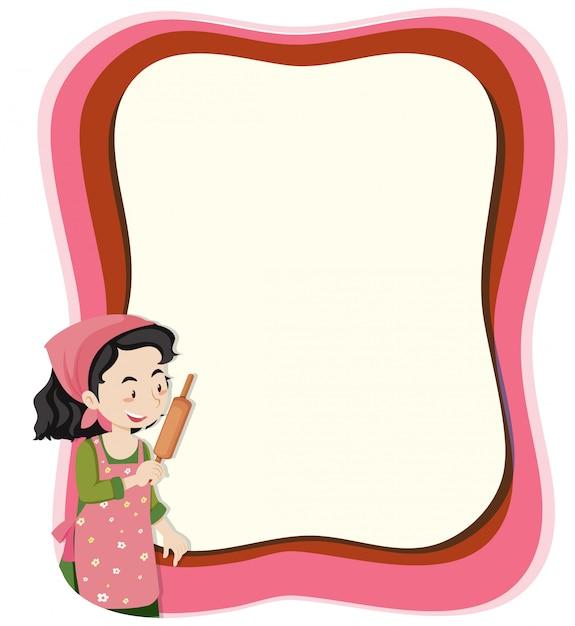 Une femme au foyer sur une note avec fond Vecteur gratuit