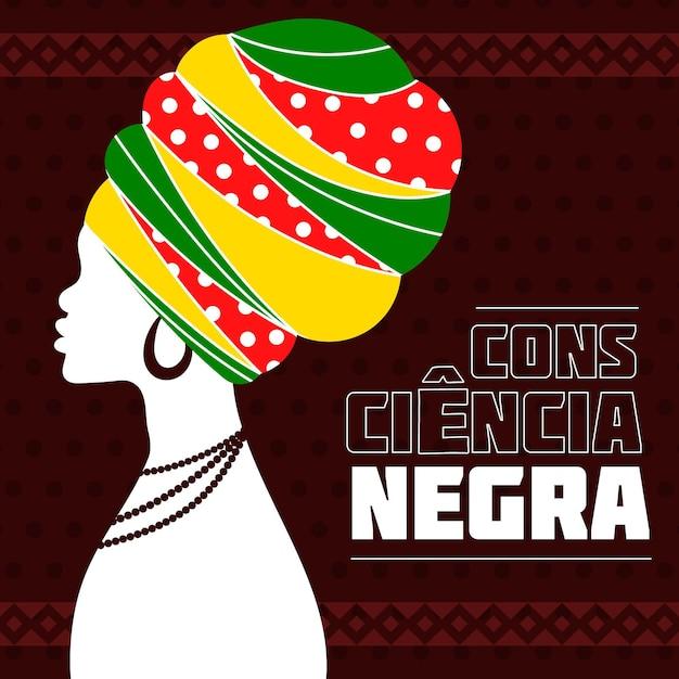 Femme Au Grand Chapeau Noir Journée De Sensibilisation Vecteur gratuit