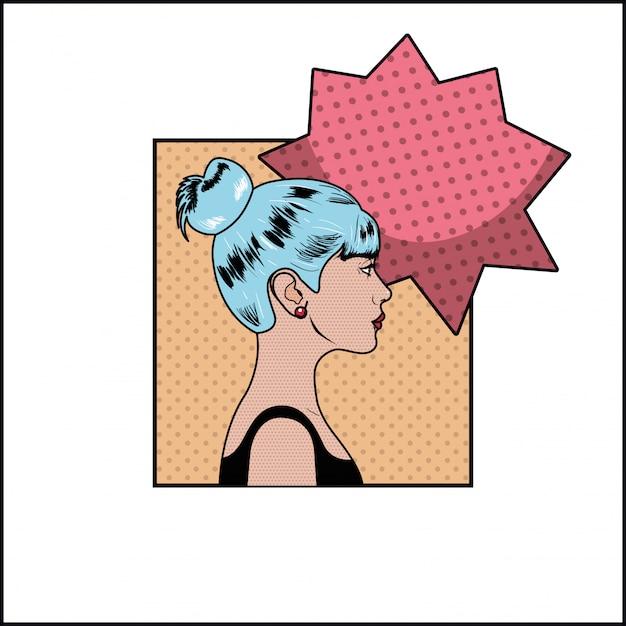 Femme aux cheveux bleus et style bulle pop art Vecteur Premium