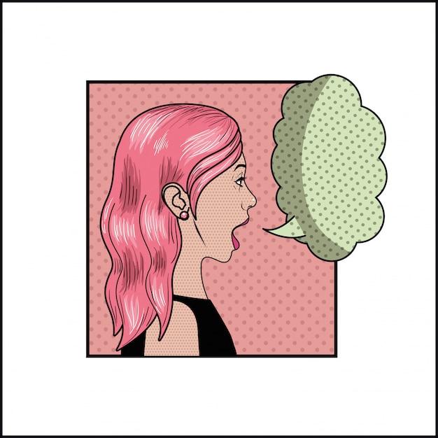 Femme aux cheveux roses et style bulle pop art Vecteur Premium