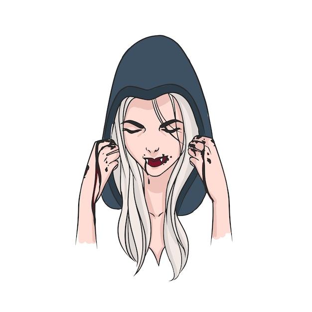 Femme Aux Longs Cheveux Blonds, Tête Baissée Couverte De Capuche Et De Crocs Vecteur Premium
