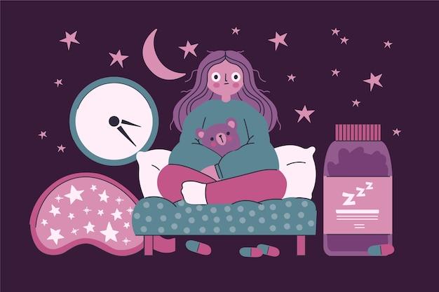 Femme Aux Prises Avec Le Concept De L'insomnie Vecteur gratuit