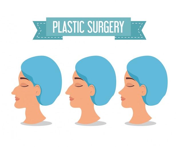 Femme avant et après la chirurgie plastique Vecteur gratuit