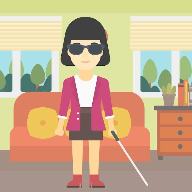 Femme aveugle avec illustration vectorielle de bâton. Vecteur Premium