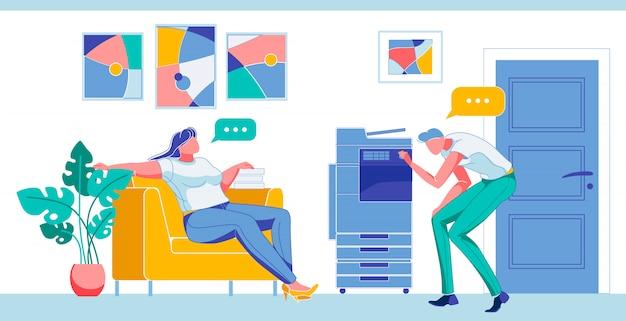 Femme ayant du repos, homme allumant le scanner plat. Vecteur Premium