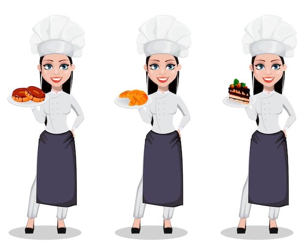 Femme baker en uniforme professionnel Vecteur Premium