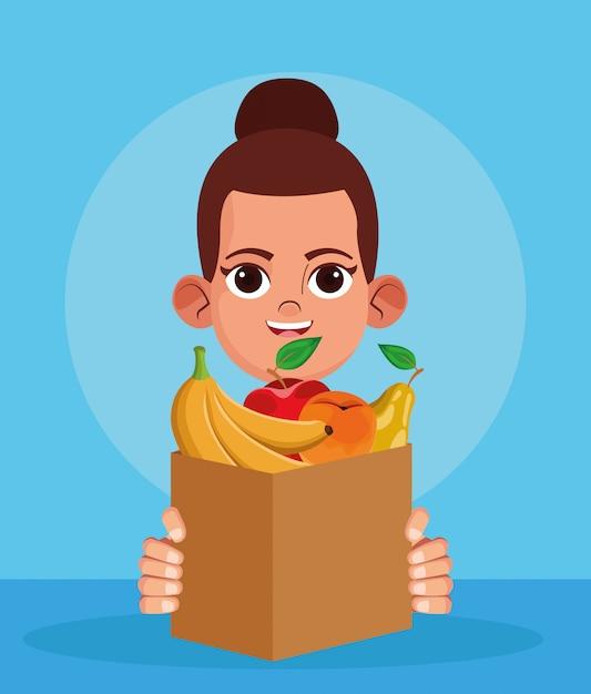 Femme De Bande Dessinée Avec Sac En Papier Avec Des Fruits, Design Coloré Vecteur Premium