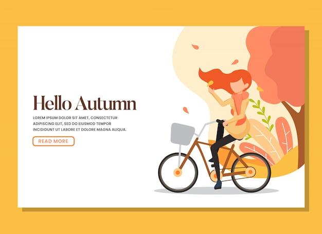 Une femme à bicyclette dans la chaude page d'automne Vecteur Premium