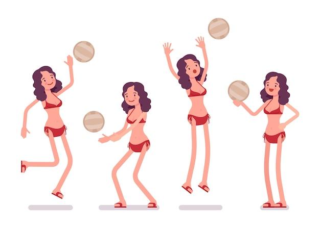 Femme en bikini jouant au volleyball de plage Vecteur Premium